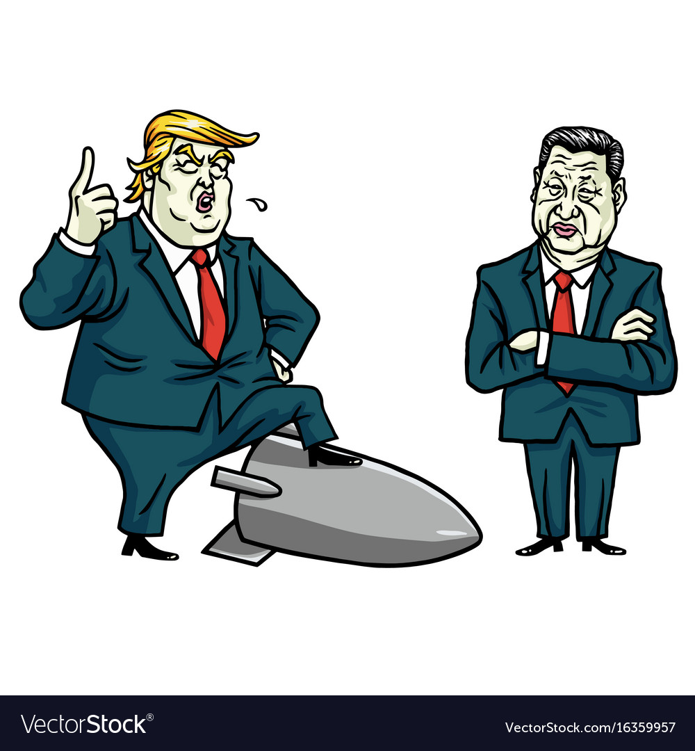 Donald trump and xi jinping cartoon vector image