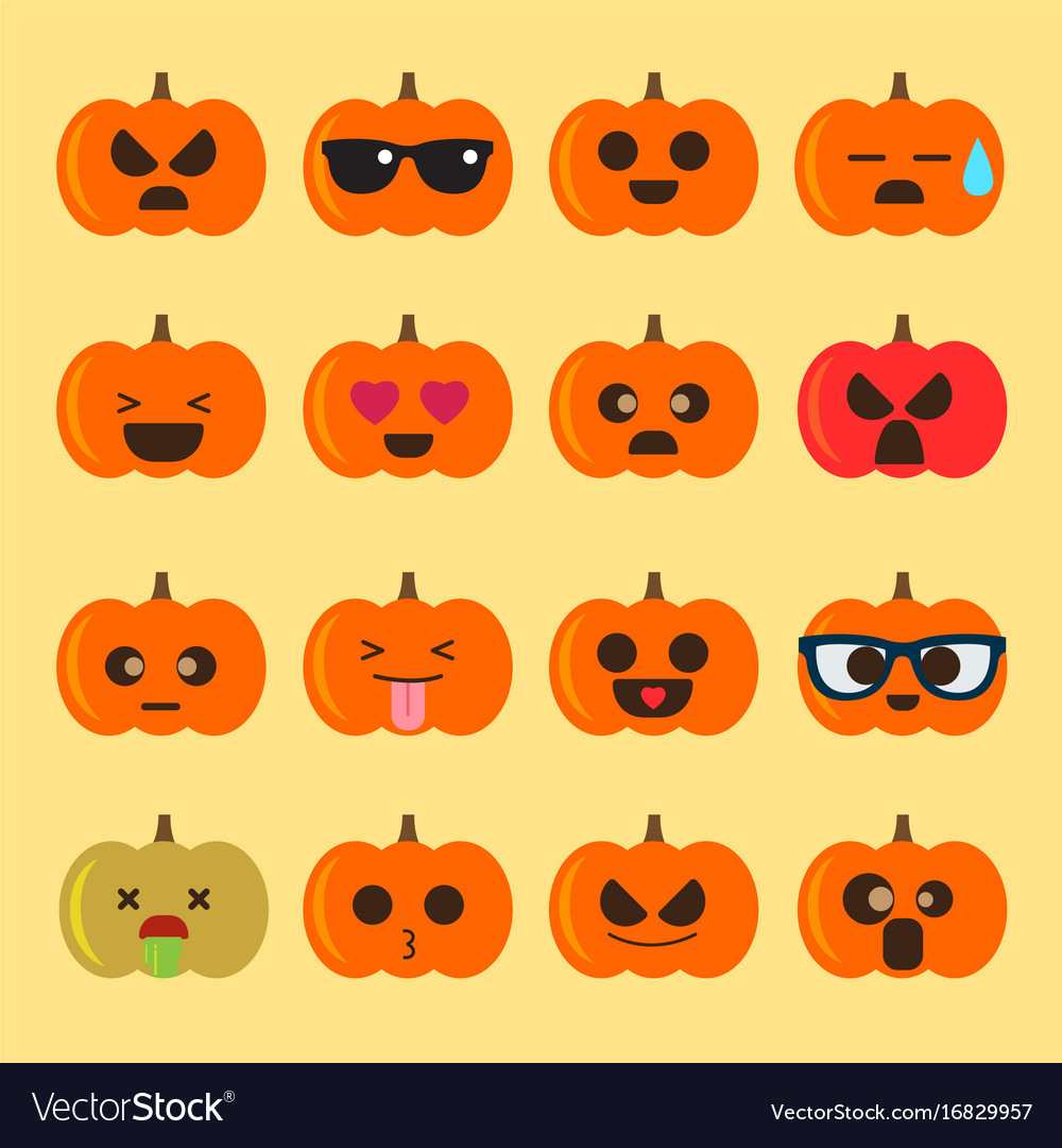Halloween Pumpkin Vector Art.Emoji Halloween Pumpkin