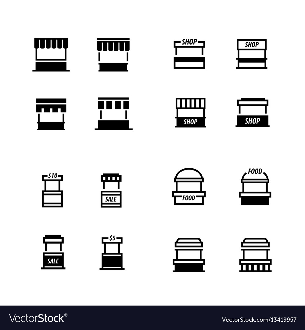 Fast food trolley icons set vector image