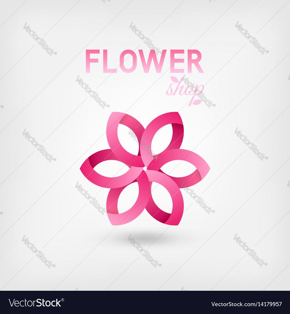 Flower Shop Logo Design Pink Color Royalty Free Vector Image