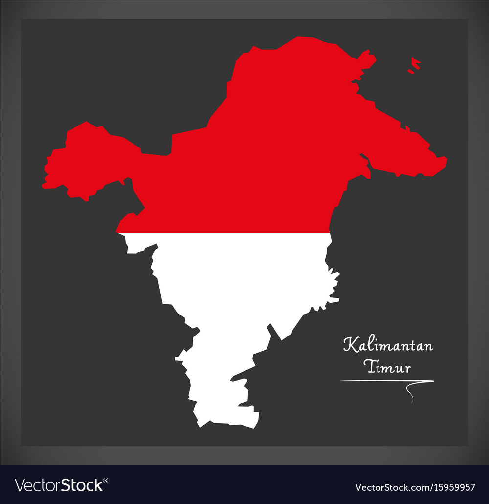 kalimantan timur indonesia map with indonesian vector image vectorstock