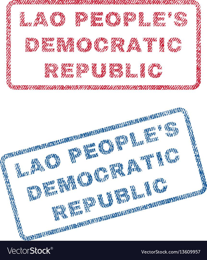 Lao people s democratic republic textile stamps vector image