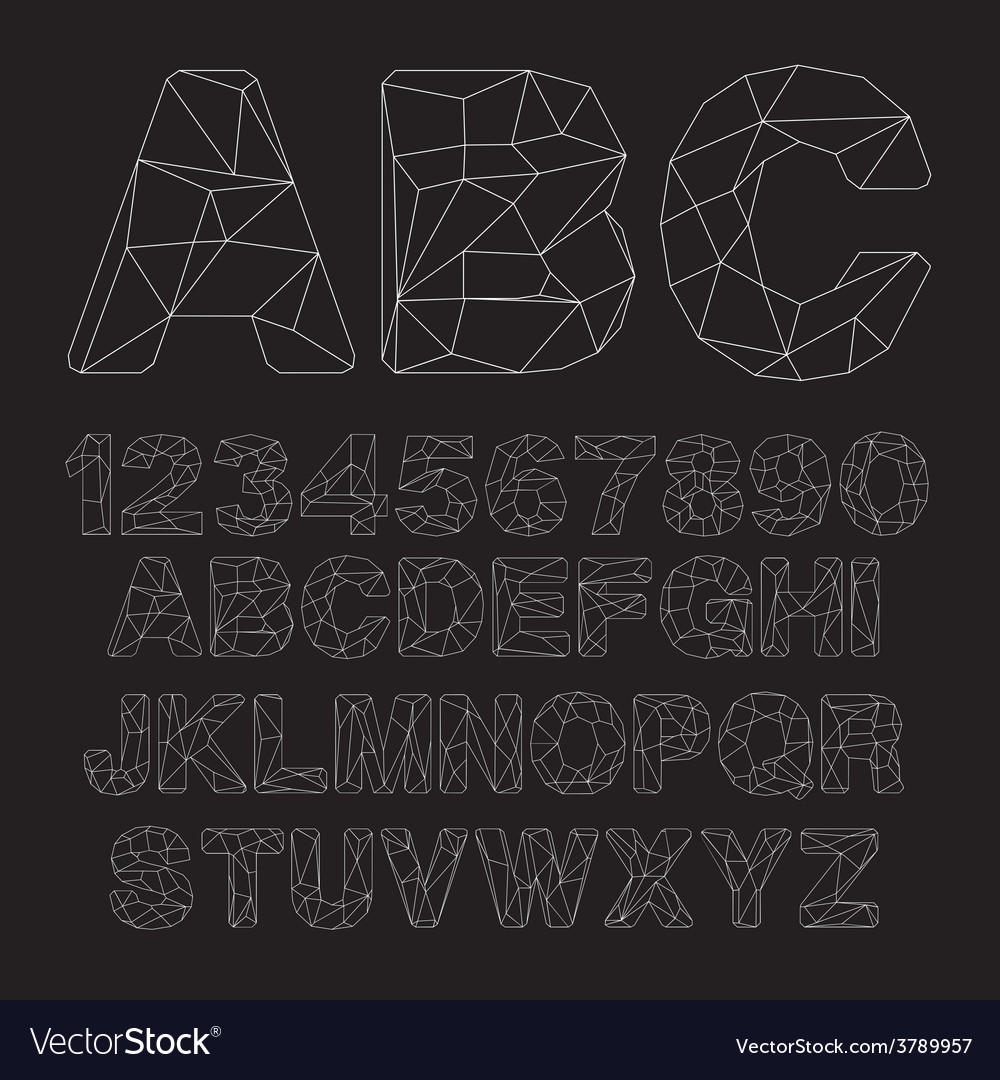 Lowpoly Outline Font