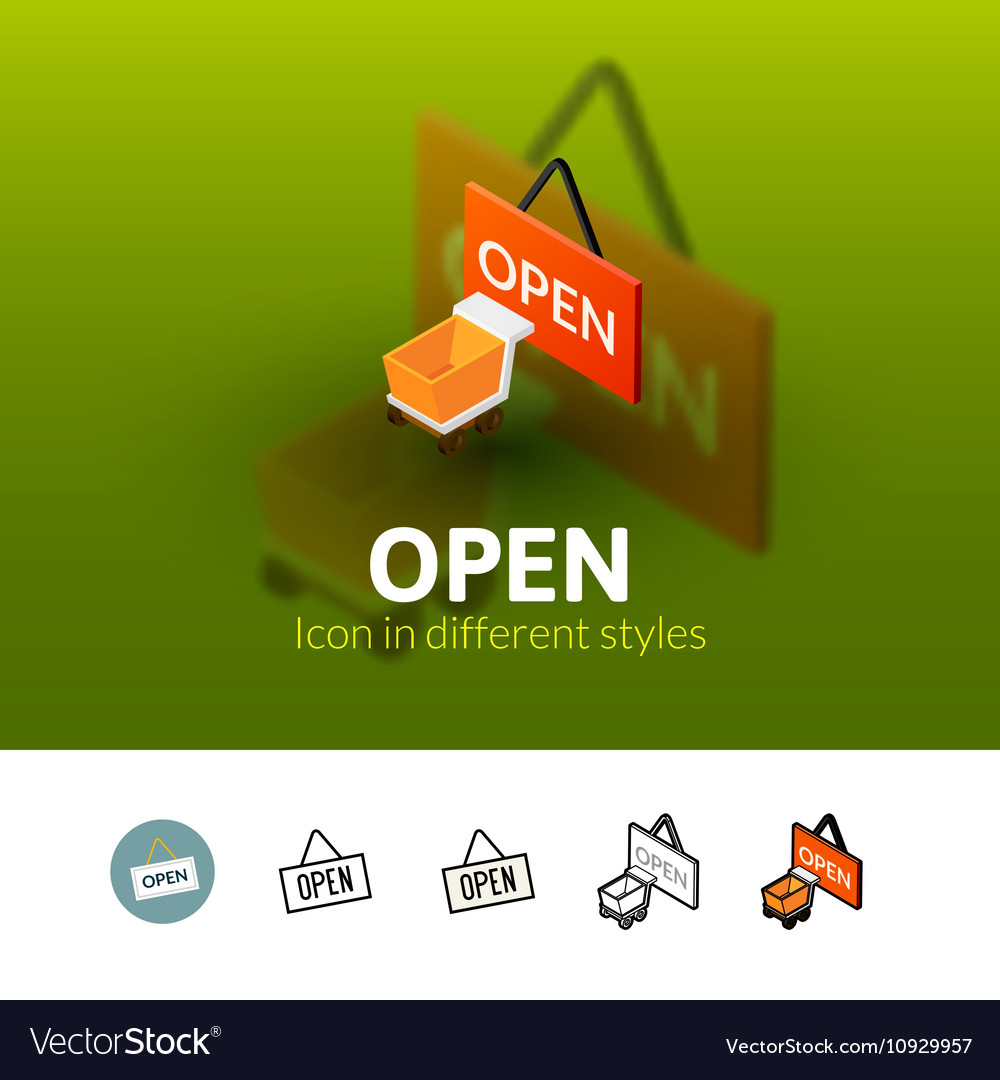 Open icon in different style