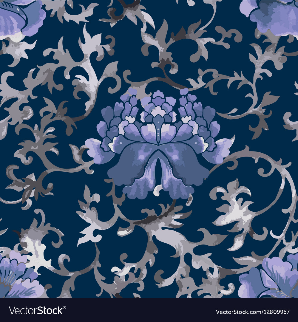 Seamless chinese pattern watercolor style vector