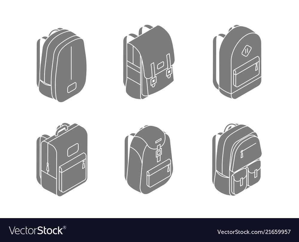 Set backpacks isometric icons in 3d design