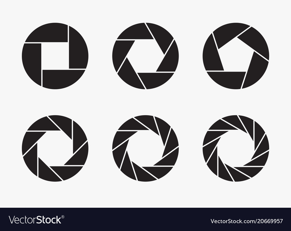 Set of black camera lens aperture icons