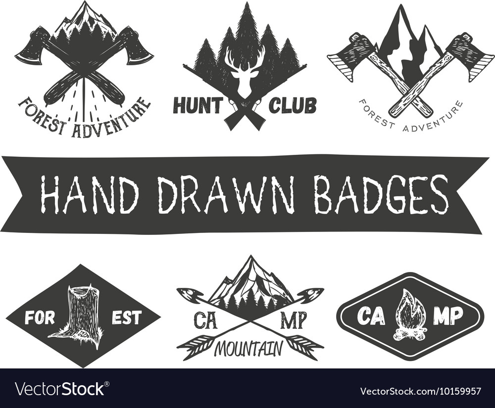 Set of hand drawn forest camp labels in
