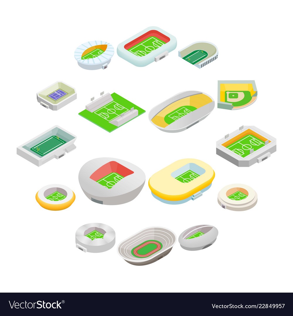 Stadium isometric 3d icons
