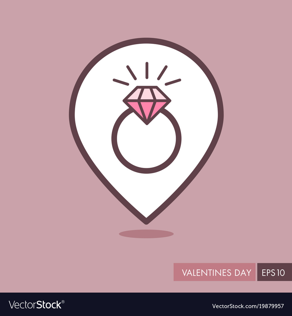 Wedding ring with a diamond pin map icon Vector Image