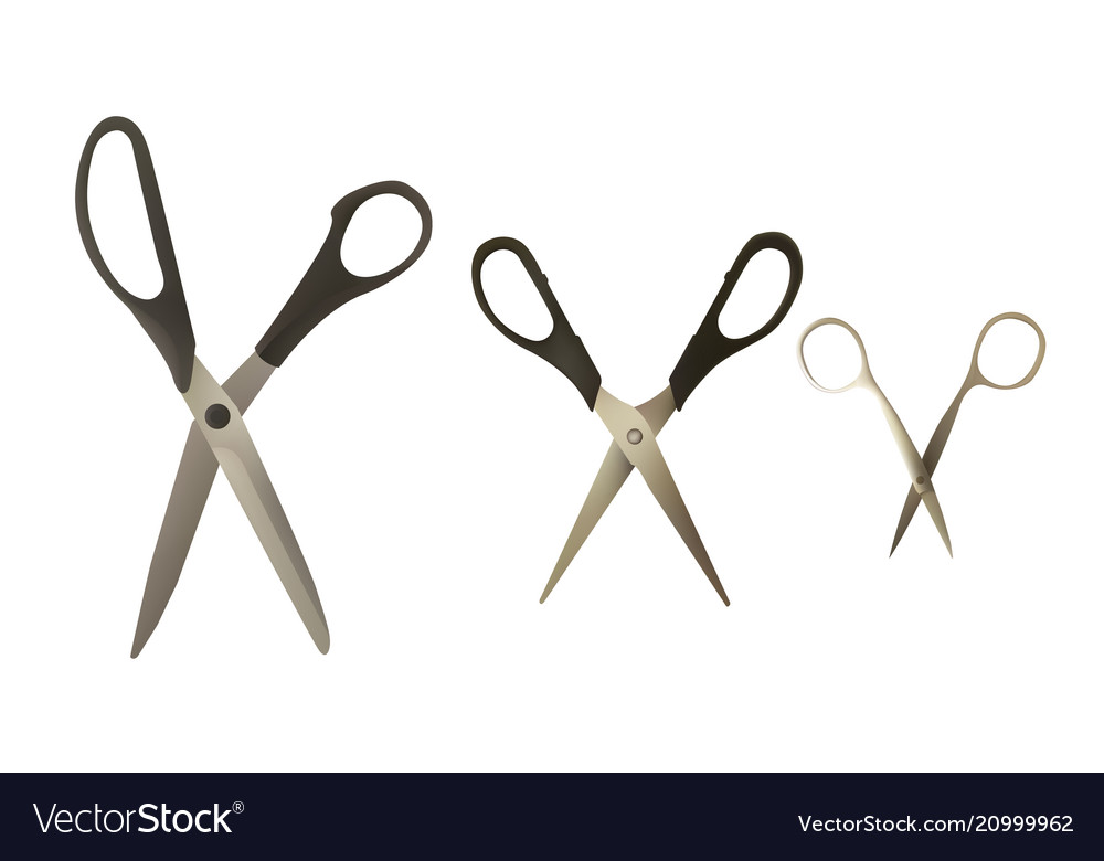 A set of scissors of different types