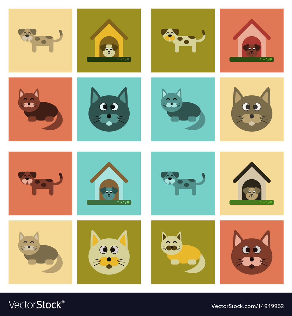Assembly Flat Icons Dog Cats Pets Royalty Free Vector Image
