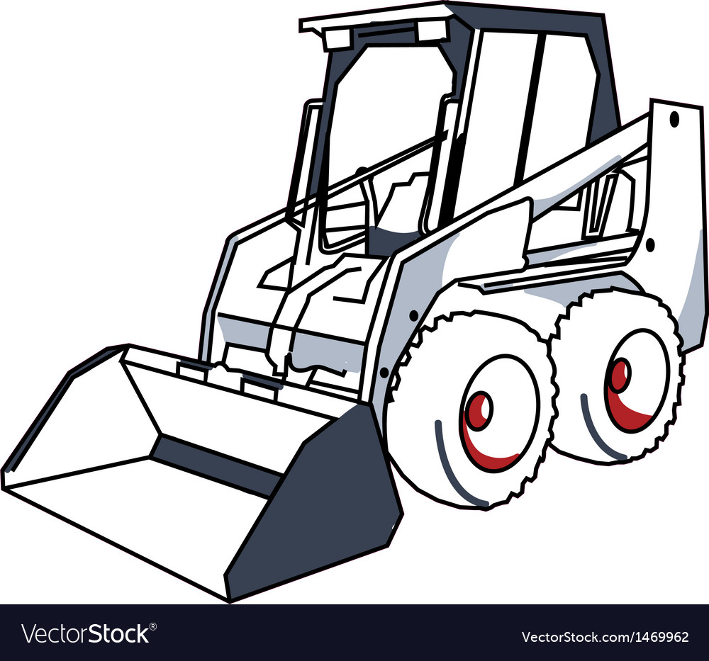 Bobcat mini excavator Royalty Free Vector Image