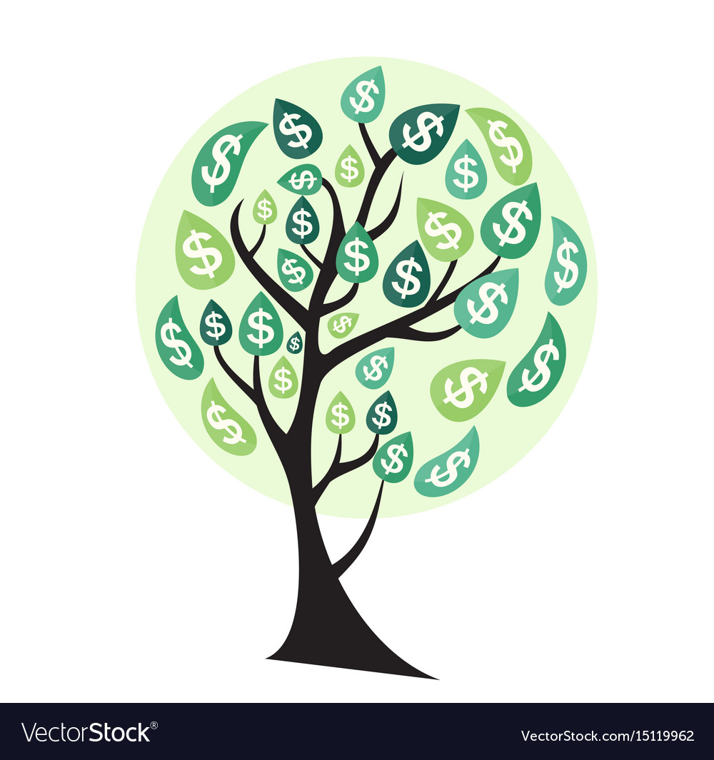 Colored money tree dependence of financial growth vector image