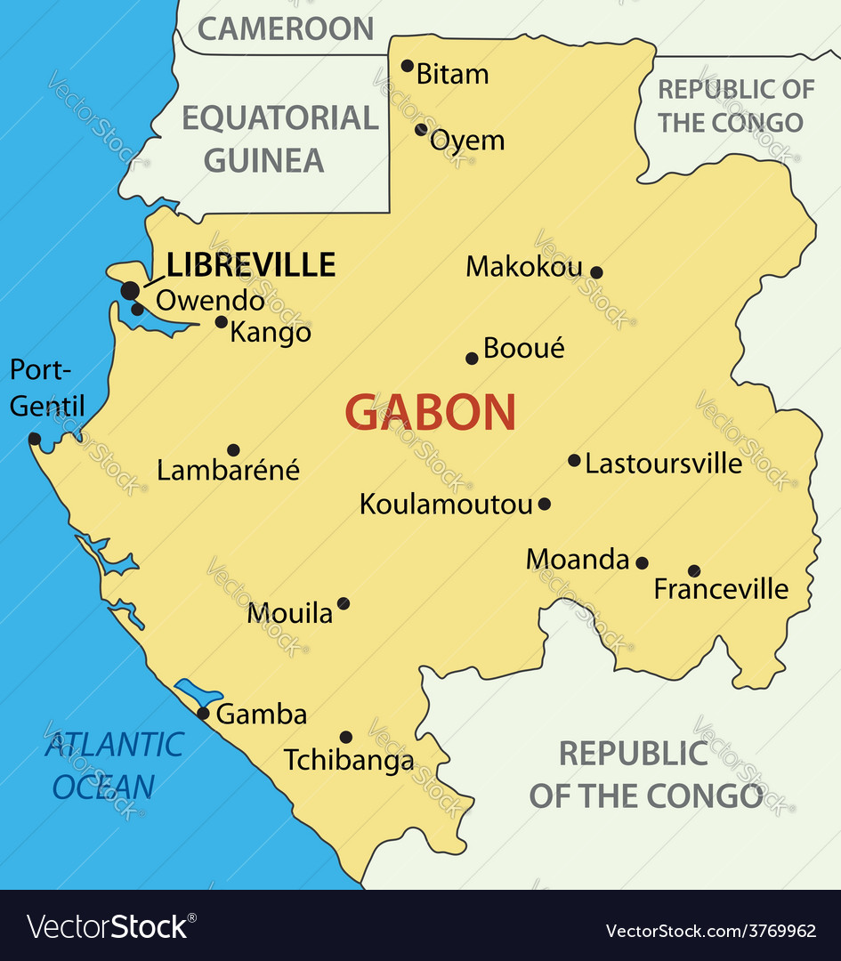 Gabon Gabonese Republic map Royalty Free Vector Image