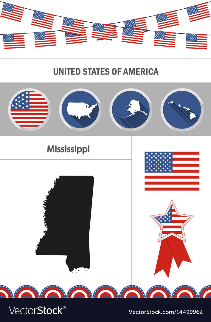 Map of mississippi set of flat design icons vector image