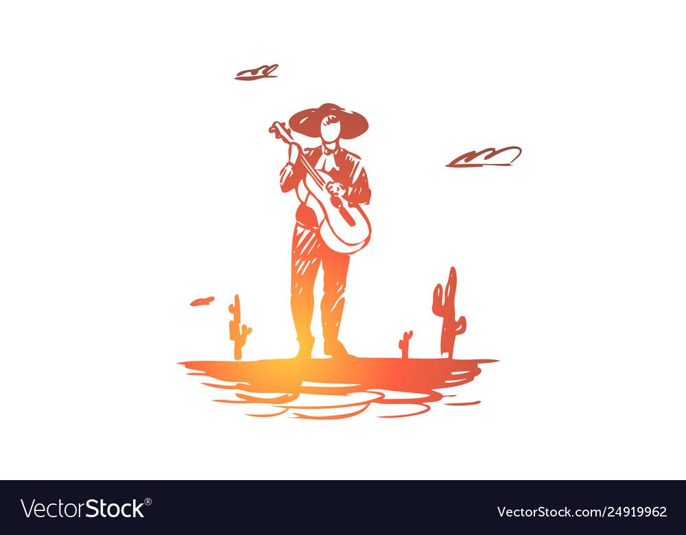 Mexico guitar cactus sombrero mexican