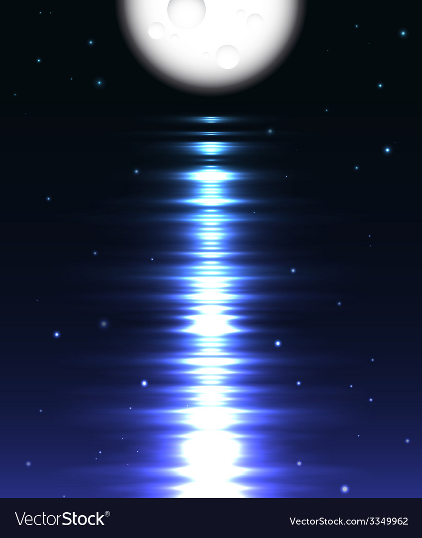 Moon reflection over water against black