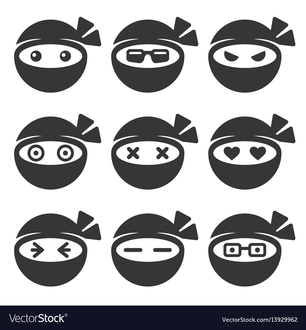 Ninja face icons set vector image