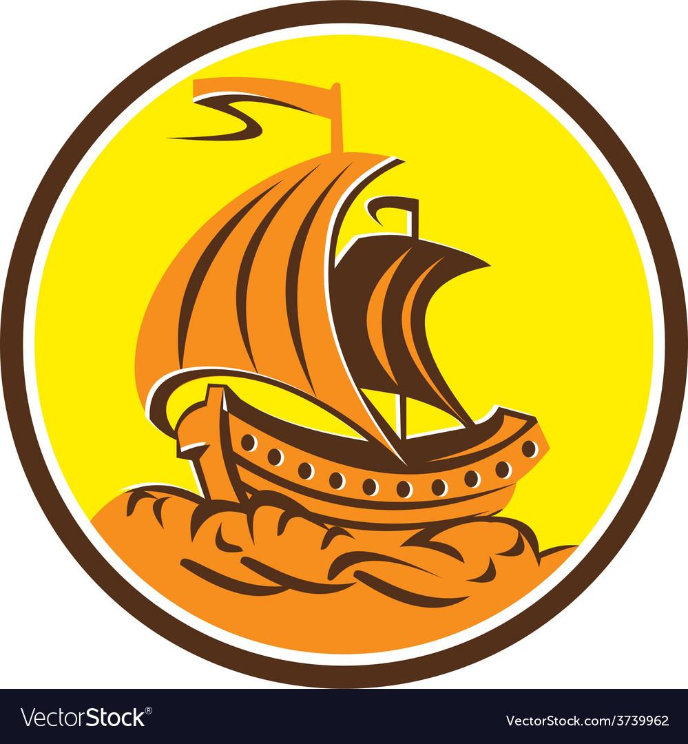 Sailing Galleon Ship Circle Retro vector image
