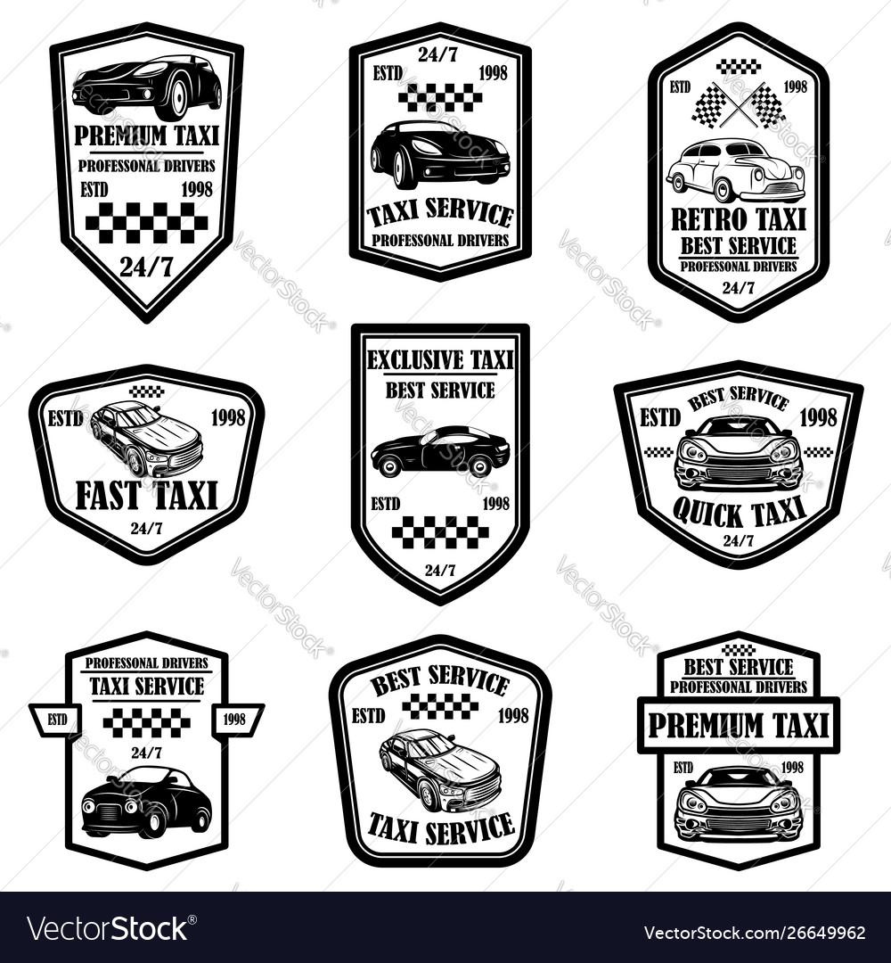 Set taxi service emblems design elements for