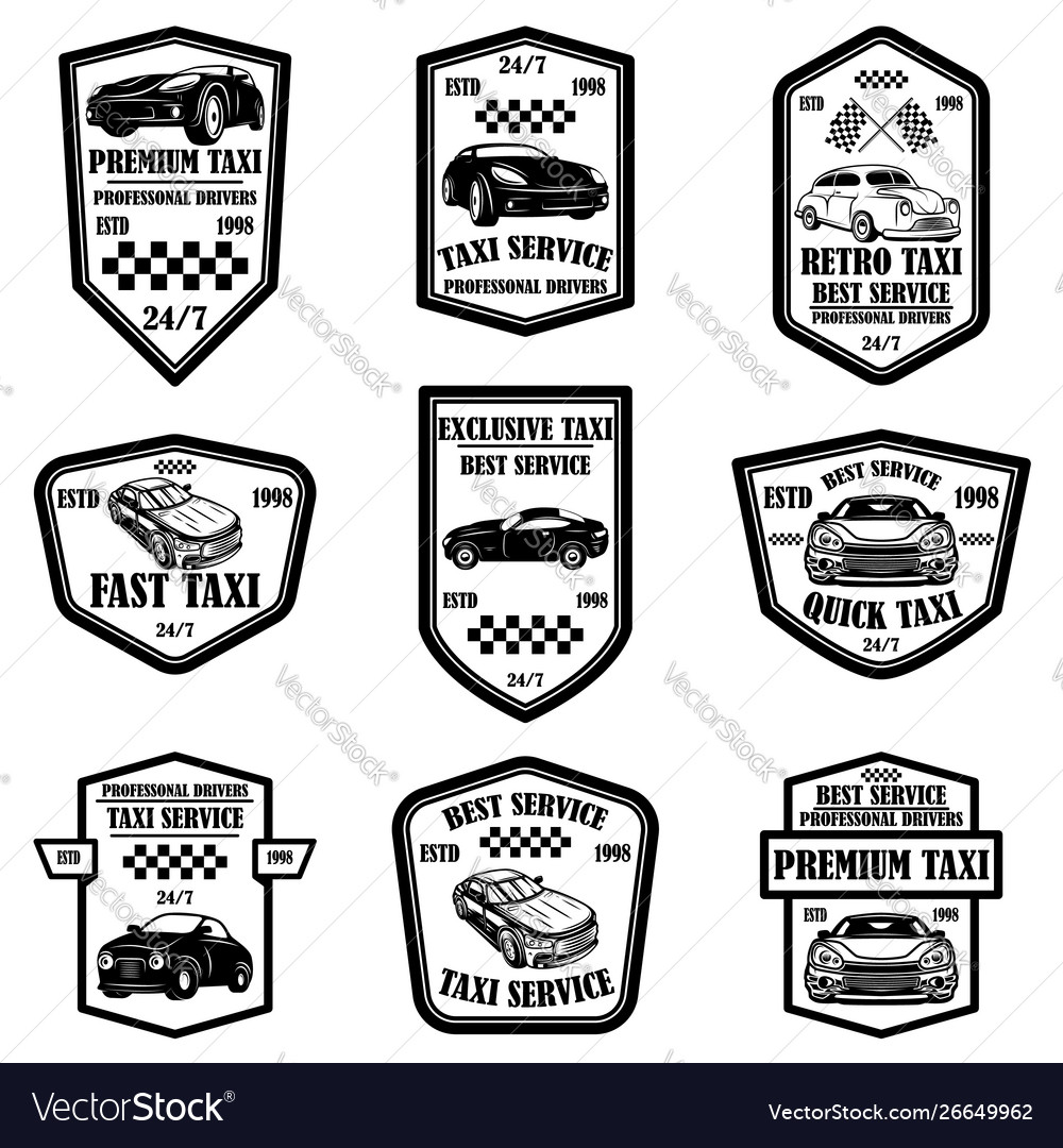 Set taxi service emblems design elements