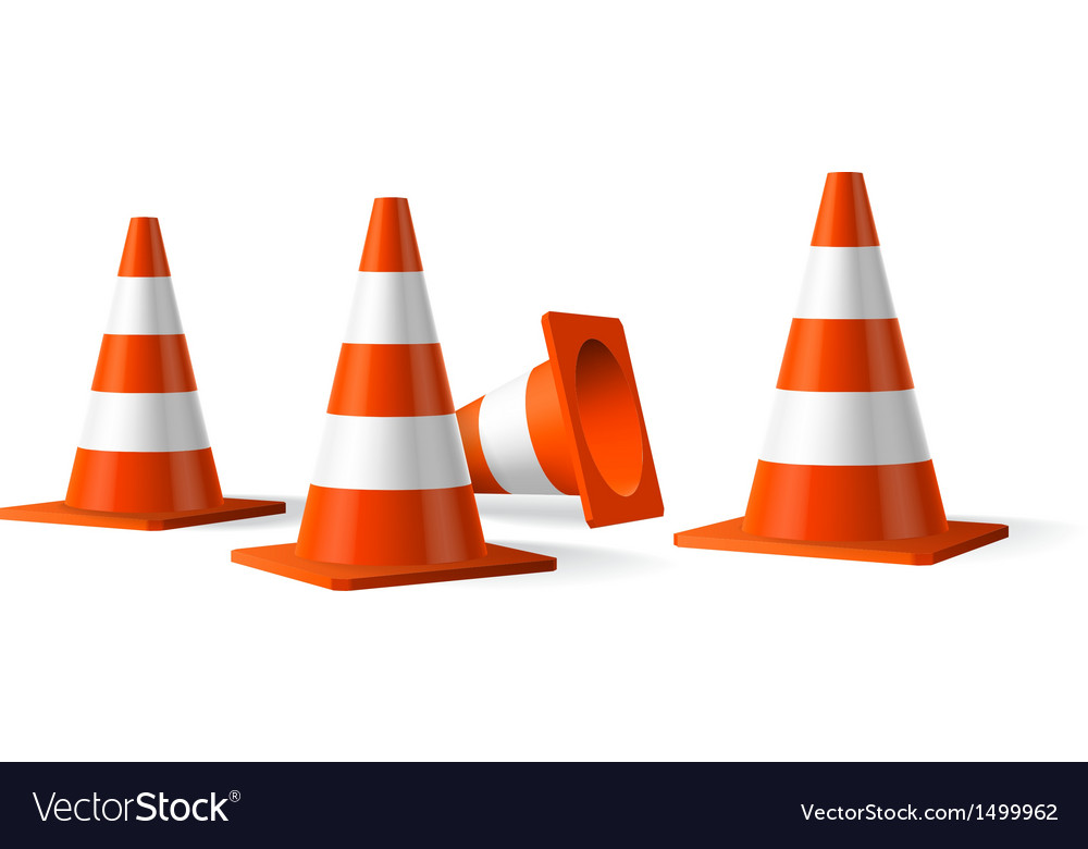 Traffic cones isolated object vector image