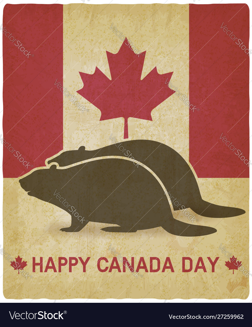 Two silhouettes beaver on canadian flag