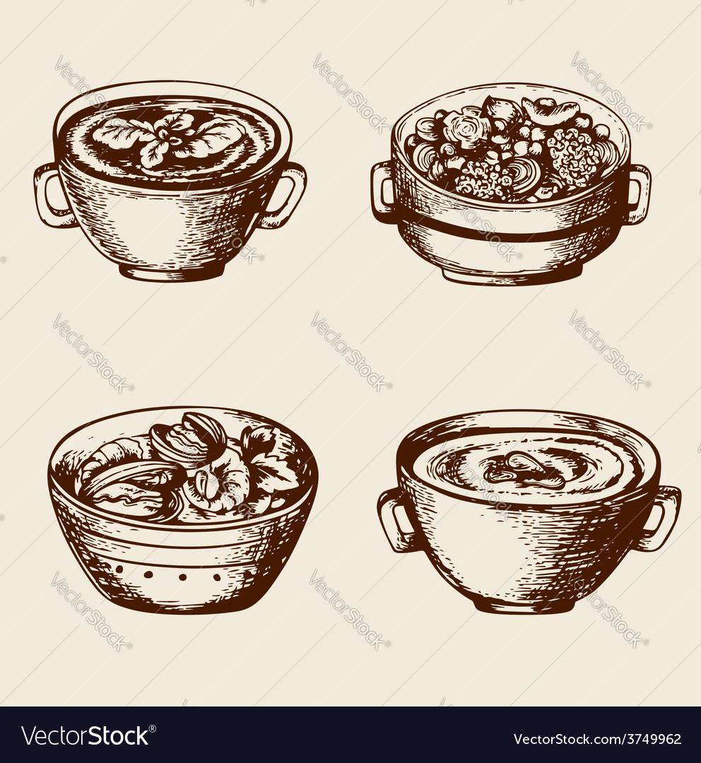 Vintage hand drawn soup vector image