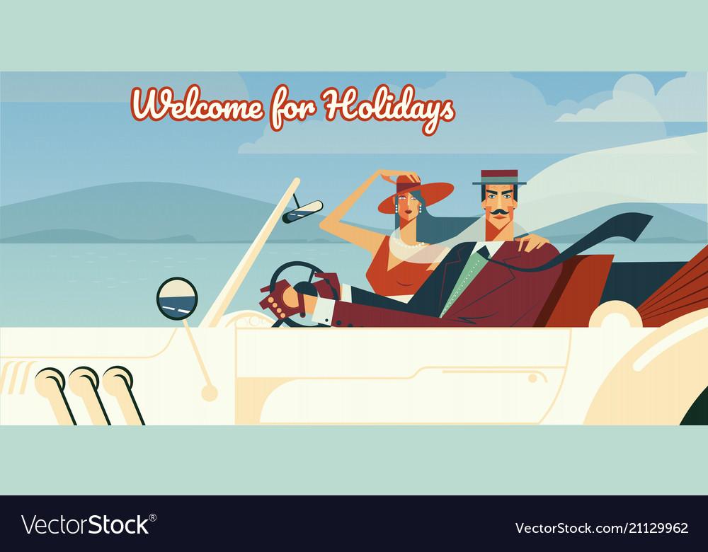 Welcome for holidays retro