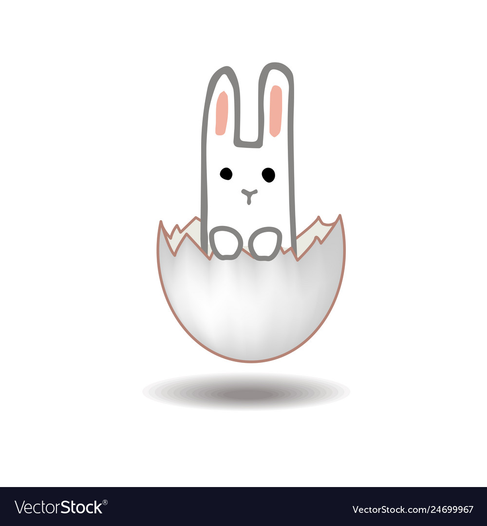 Happy easter card design sweet bunny inside a