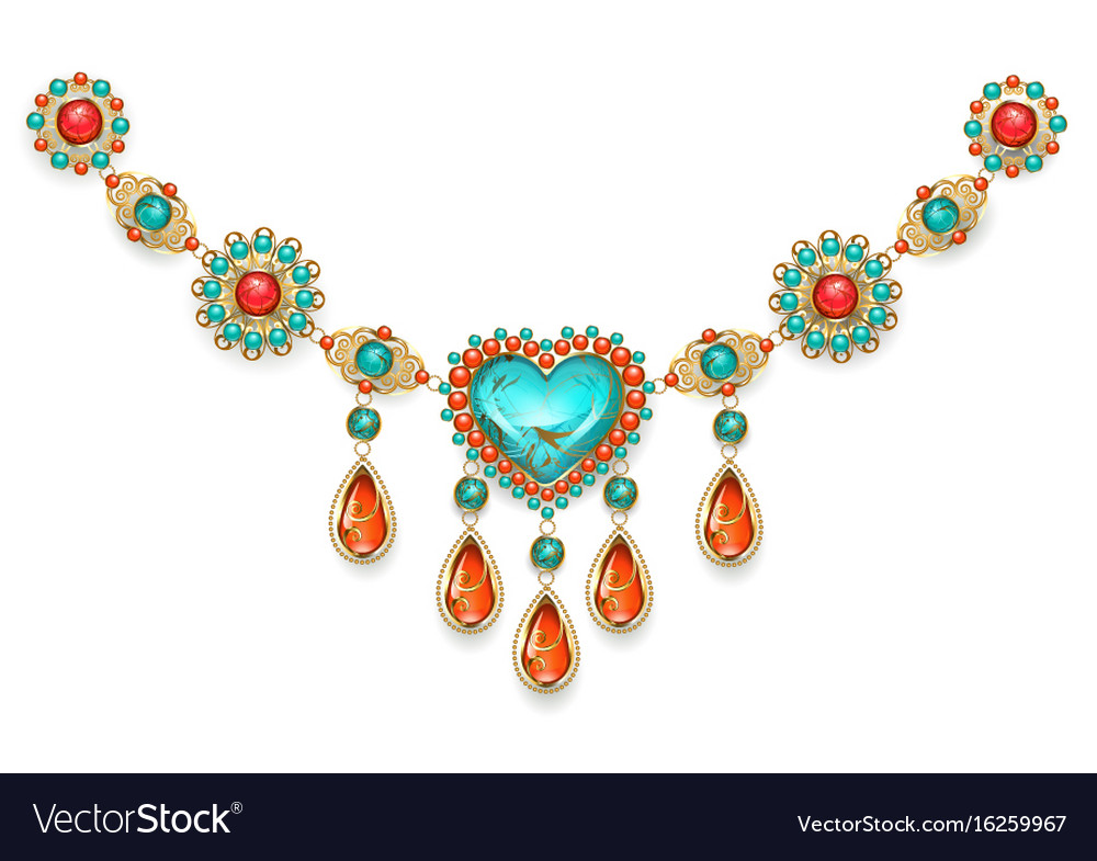 Necklace with turquoise heart