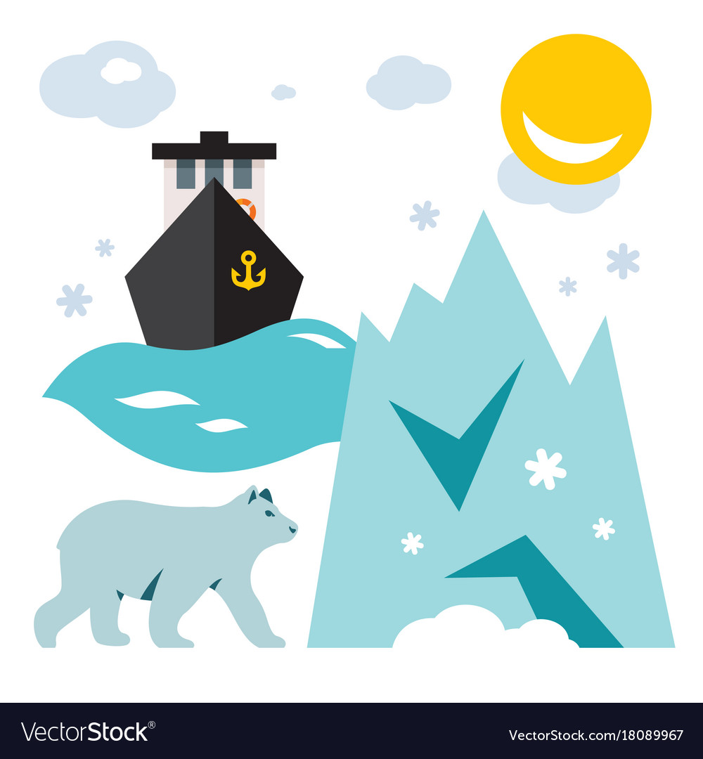 North pole flat style colorful cartoon