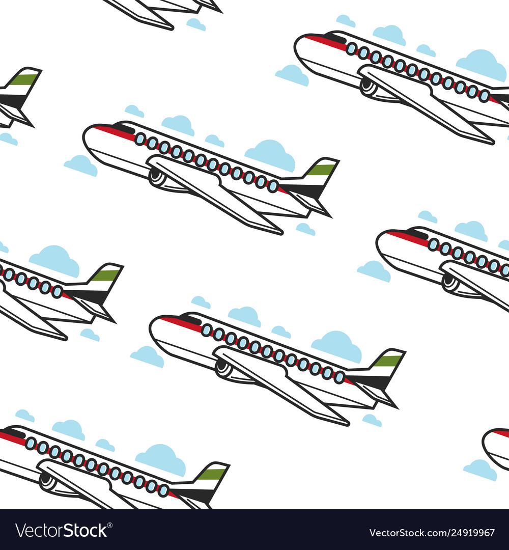 Plane seamless pattern airplane and flight
