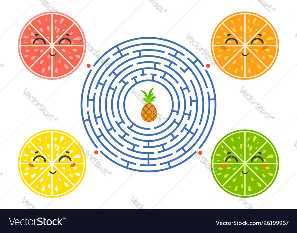 Round maze with cartoon characters lovely fruit