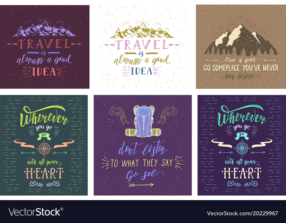 Set of travel posters hand drawn