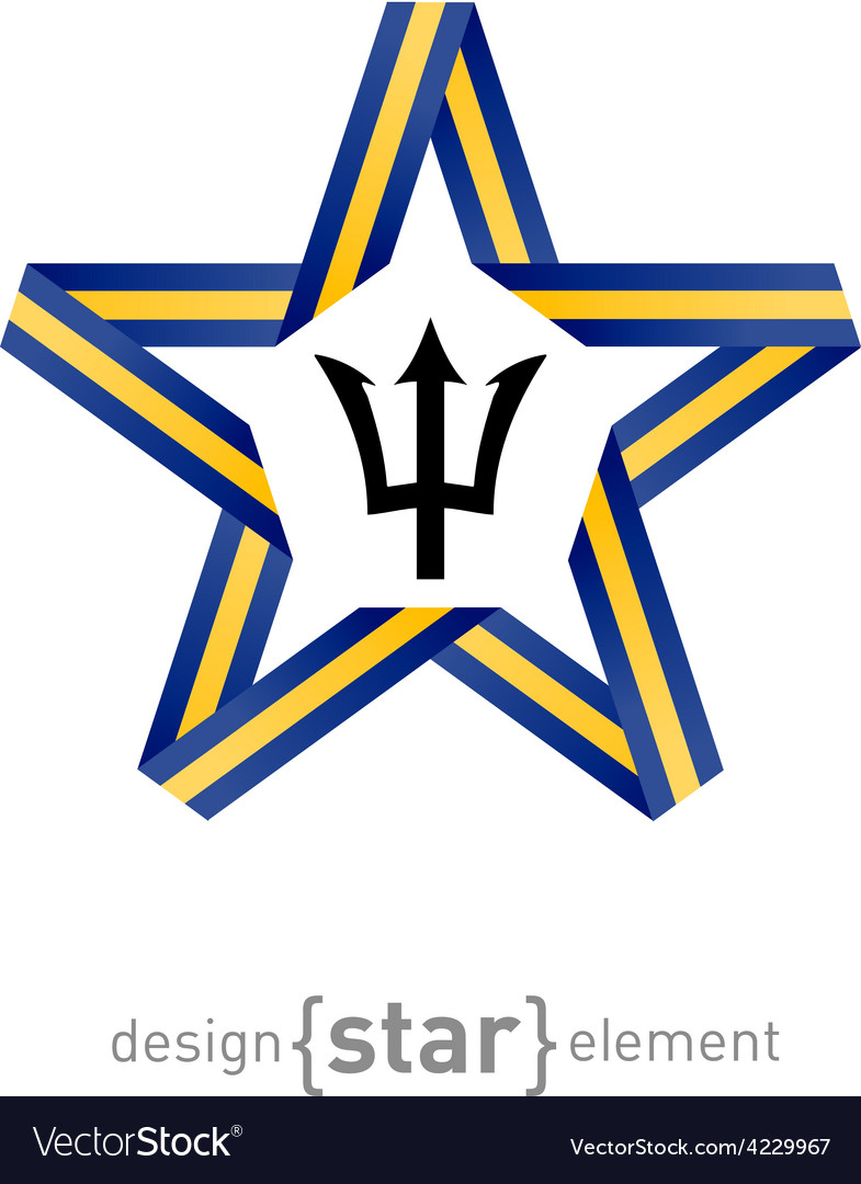 Star with flag of Barbados colors and symbols