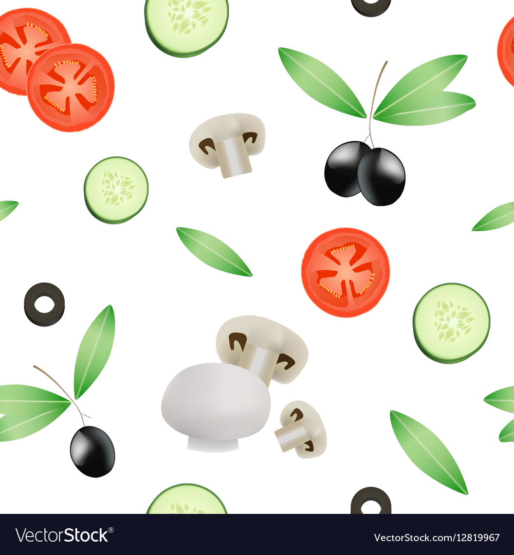 Vegetable Seamless Pattern With Tomato Cucumber