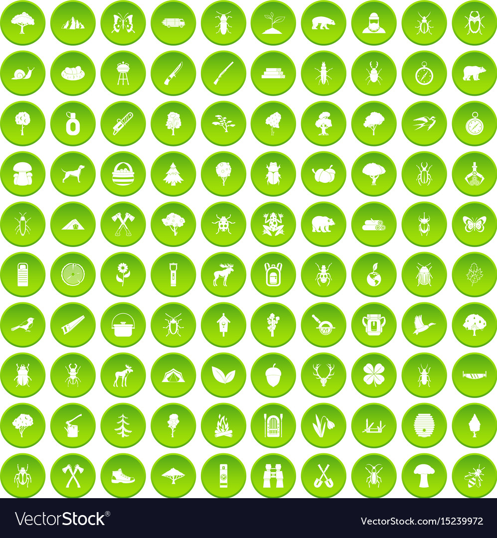100 forest icons set green circle vector image
