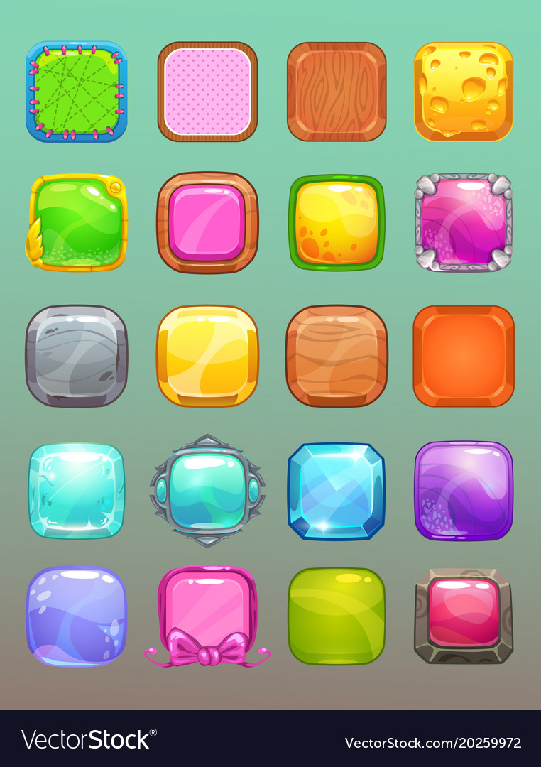 Big set of cartoon colorful square buttons vector image