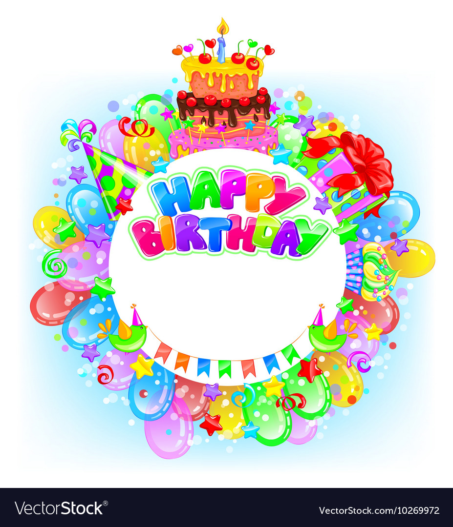 Birthday round bright banner with place for text