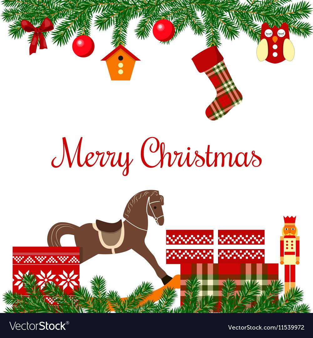 Christmas postcard with gifts vector image
