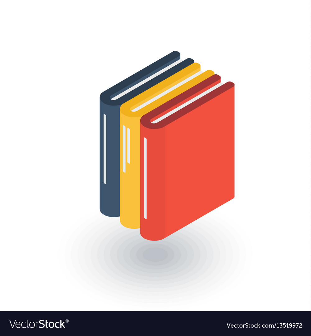 Education book library literature isometric flat