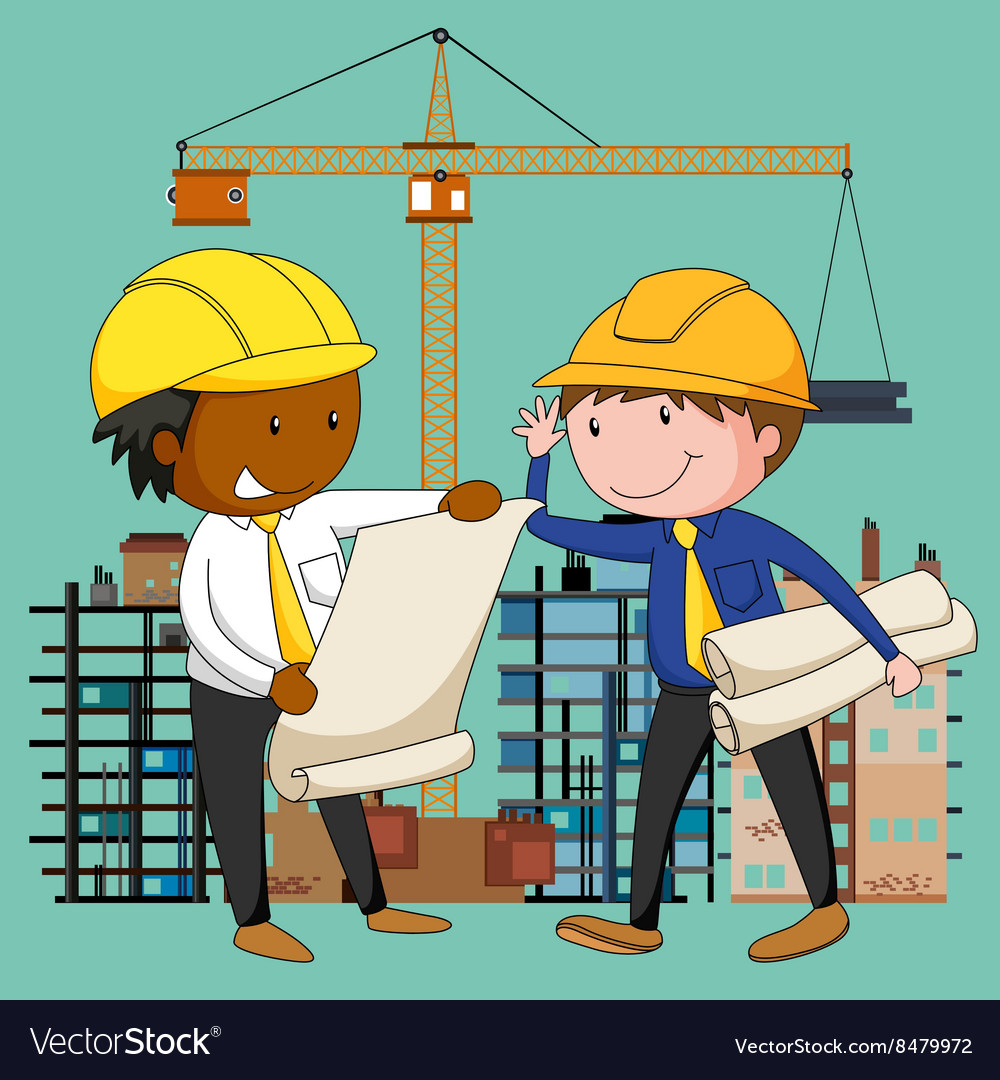 Engineers working at the construction site