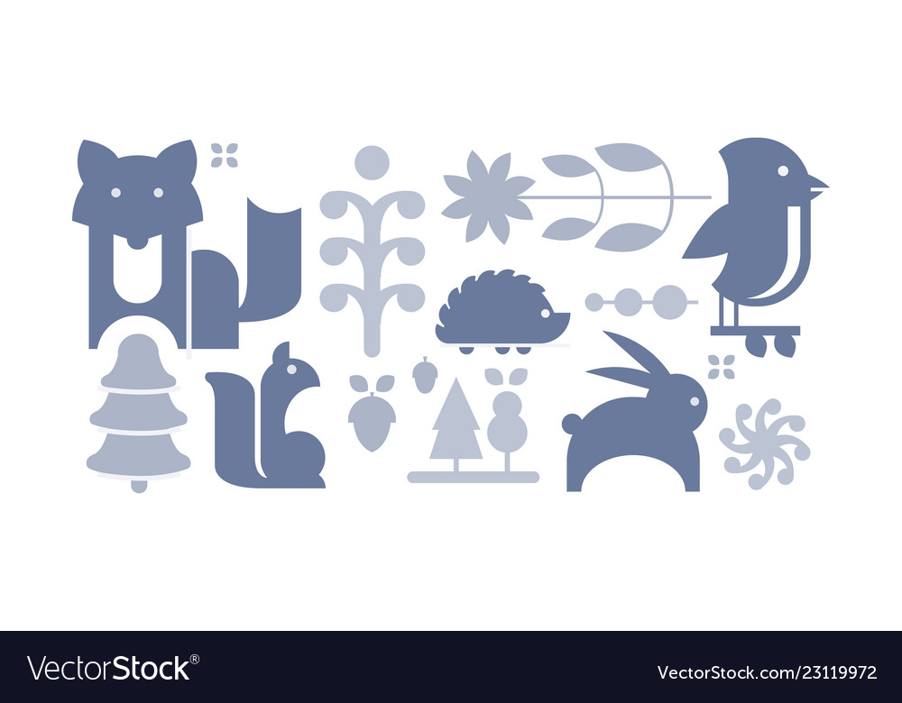 Flat set of cute forest elements wild