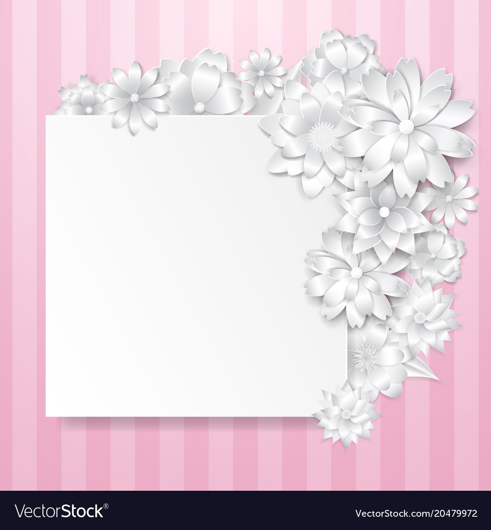 Greeting Card Template With Paper Flowers Vector Image
