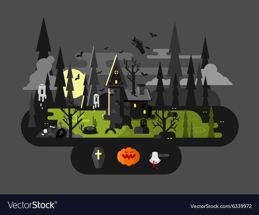 Halloween house at night vector image