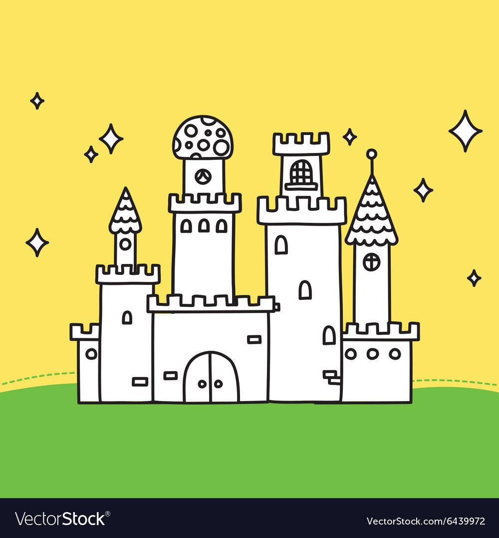Hand drawn doodle magic castle
