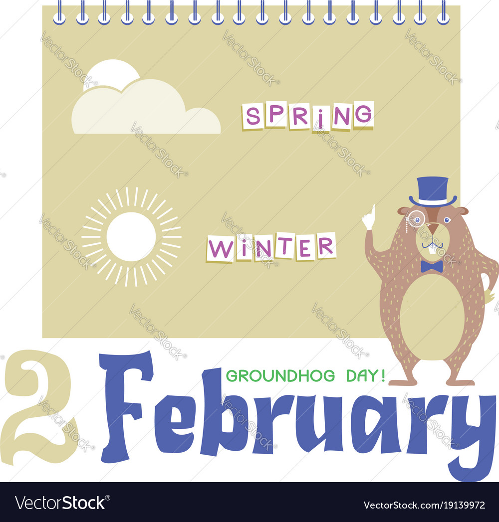 Happy groundhog day background with marmot in