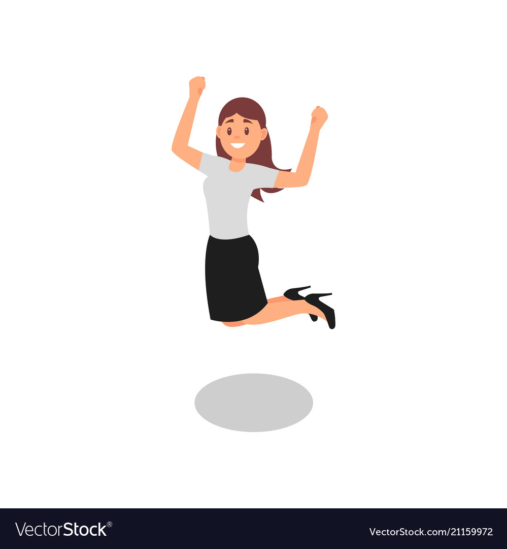 Happy young girl jumping with clenching fists